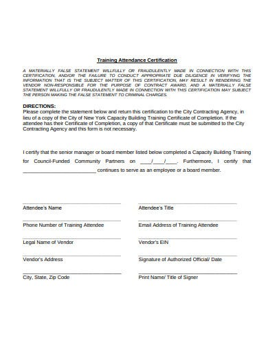 training-attendance-certificate