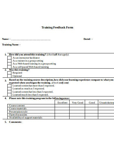 training feedback form in doc