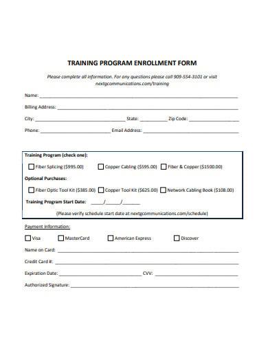 training-program-enrollment-form