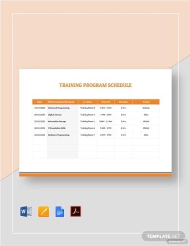 training program schedule template3