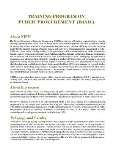 training program on public procurement