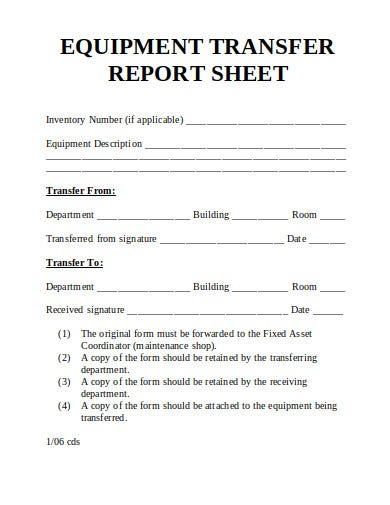 transfer report sheet example