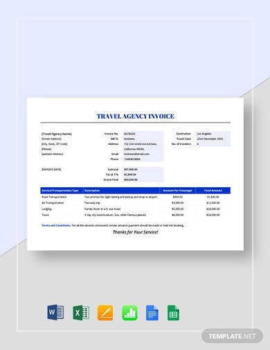 travel agency invoice template1