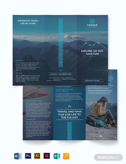 travel agency tri fold brochure template 1