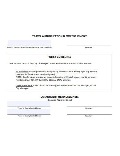 travel authorization and expense invoice template