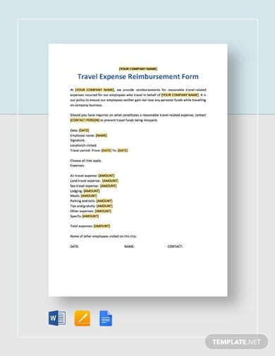 travel expense reimbursement form template