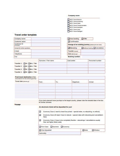 travel order template