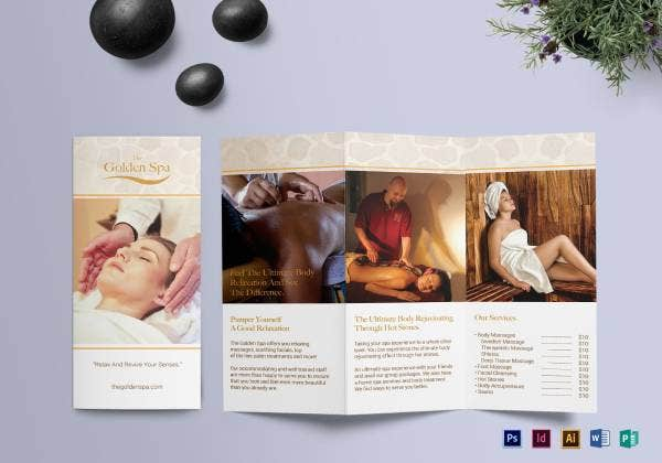 trifold spa template brochure