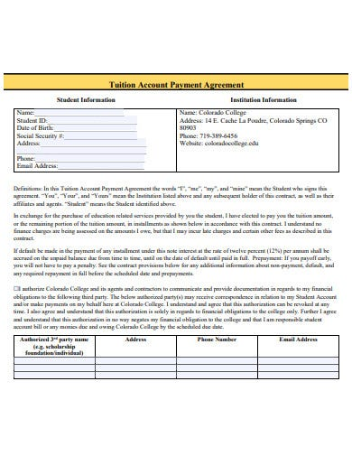 tuition account payment agreement