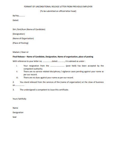 unconditional release letter