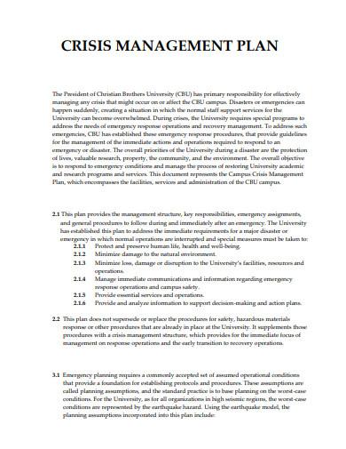 university crisis management plan template