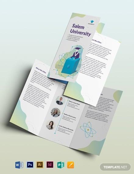 university tri fold brochure template 1