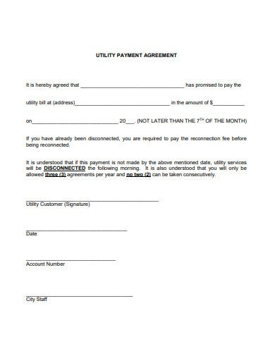 utility payment agreement template