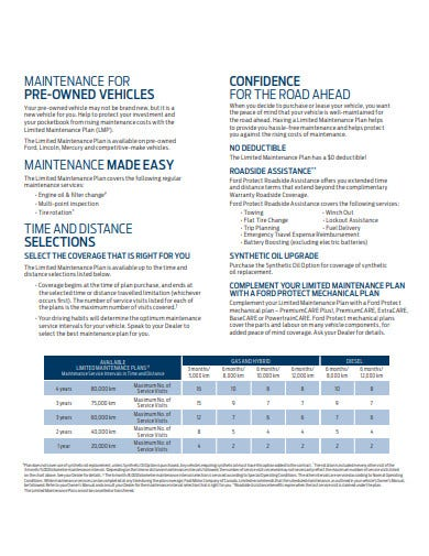vehicle maintenance plan template