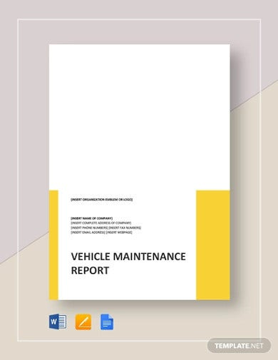 vehicle maintenance report template