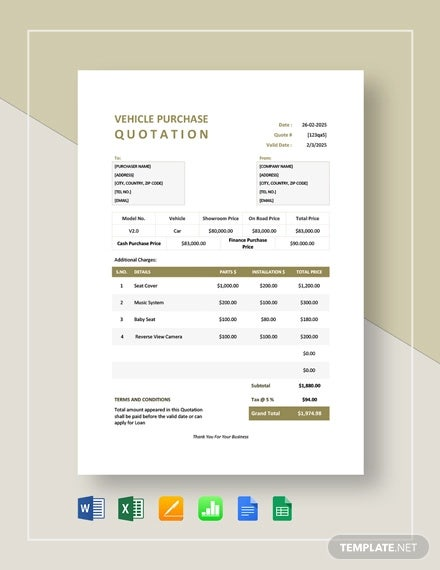 vehicle purchase quotation template