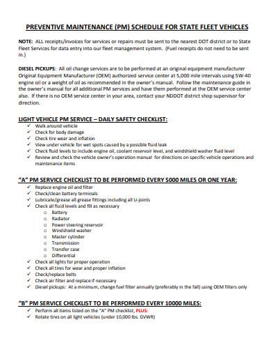 vehicles preventive maintenance schedule