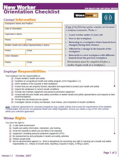 vibrant orientation checklist template