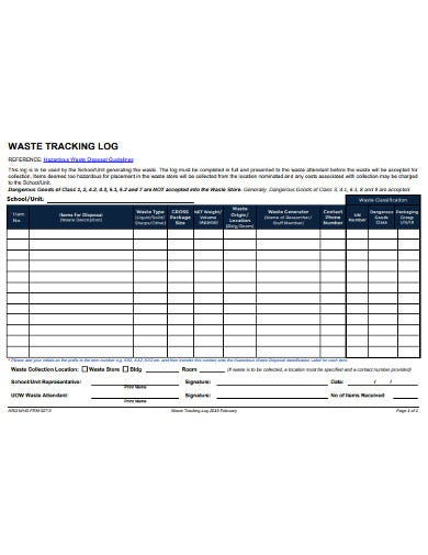 waste tracking log template