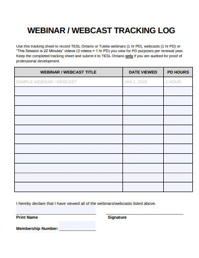 webcast tracking log template