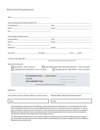 website advertising agreement template