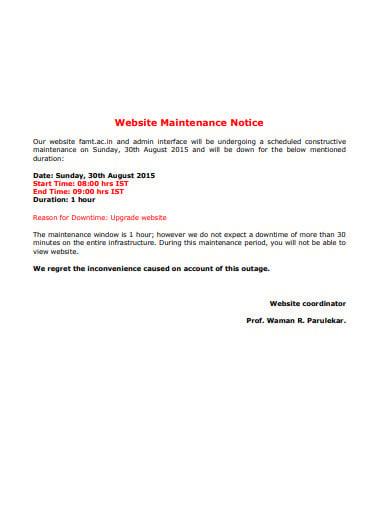 website mainttenance notice template