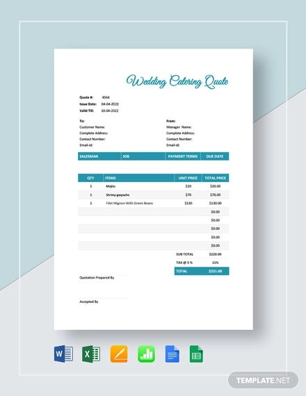 11+ Catering Quotation Templates - Word, PDF | Free