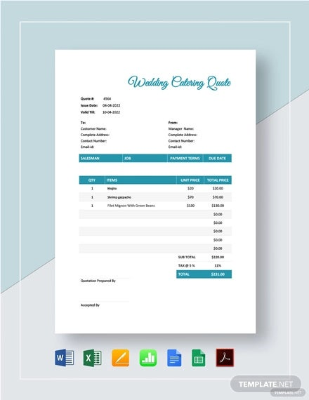 wedding catering quote template1