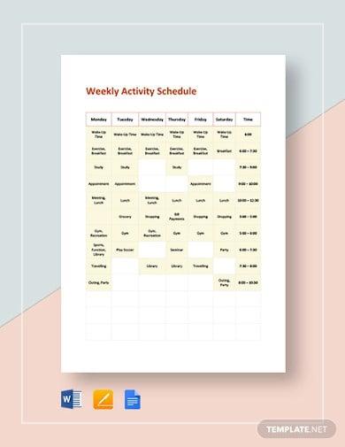 weekly activity schedule template1