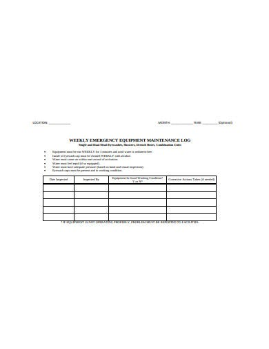 weekly emergency equipment maintenance log template
