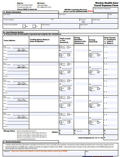 worker health care travel expense form