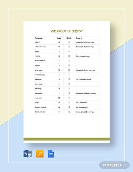 workout checklist template