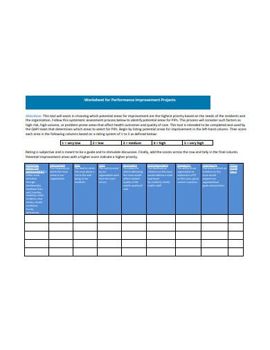 worksheet for performance improvement project template