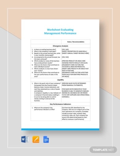 worksheet on evaluating management performance template1