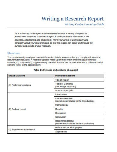 writing a research report template