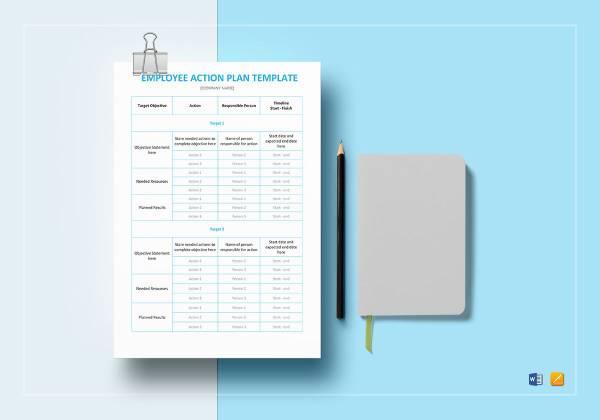 employee action plan template mockup