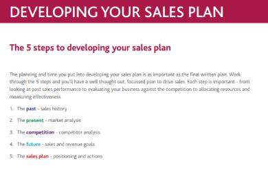 five steps sales plan