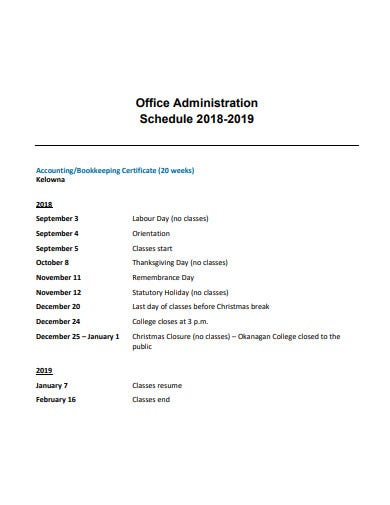 office administration schedule