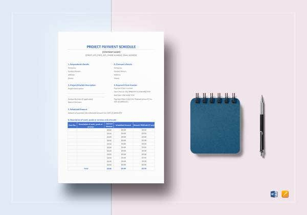 project payment schedule template mockup 1