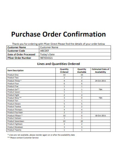 sample purchase order confirmation