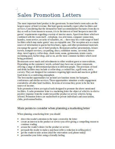 simple sales promotional letter