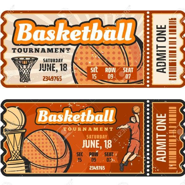 109850800 basketball match retro ticket sport game competition basketball ball basket champion trophy cup and