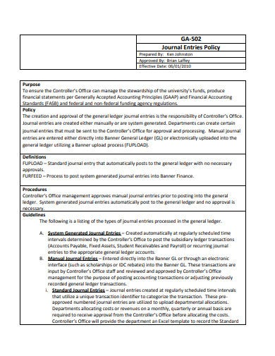 accounting journal entries policy