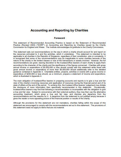 accounting and reporting by charities template
