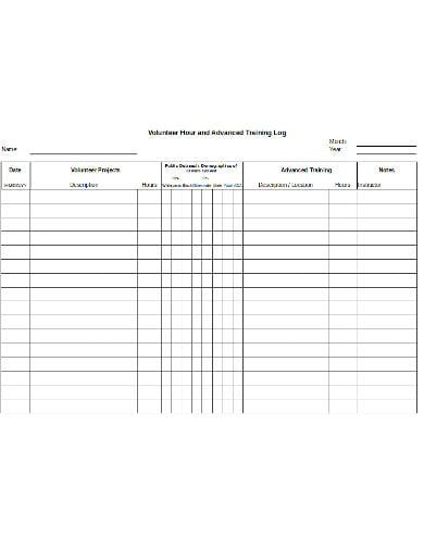 advanced training volunteer hours log template