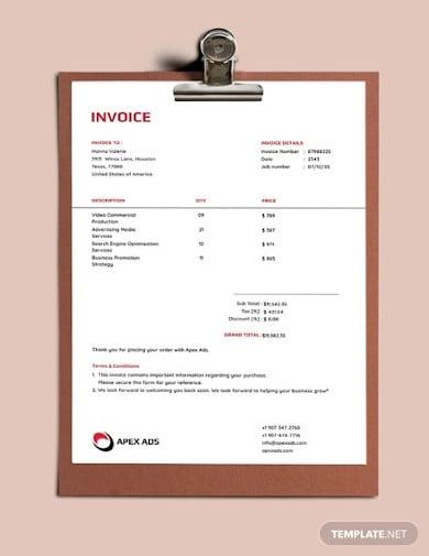 advertising consultant invoice template