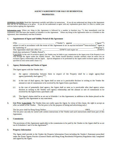 agency property sale agreement