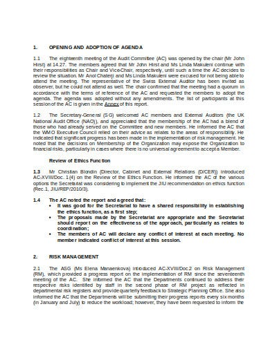 agenda for the meeting of the audit committee template