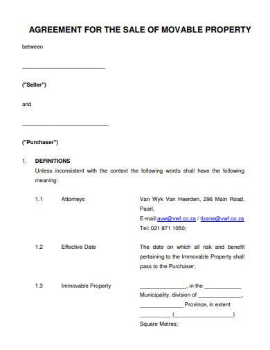 agreement for sale of movable property