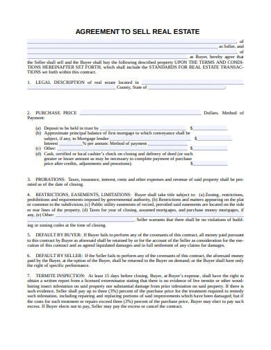 agreement to sell real estate template
